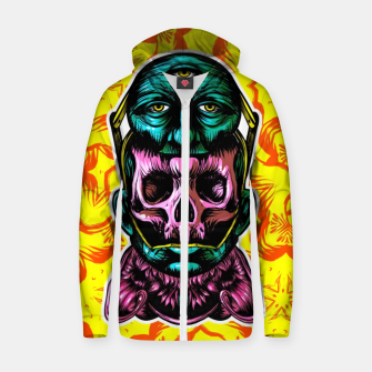 Thumbnail image of Skull and face helmet Cotton zip up hoodie, Live Heroes