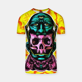 Thumbnail image of Skull and face helmet T-shirt, Live Heroes