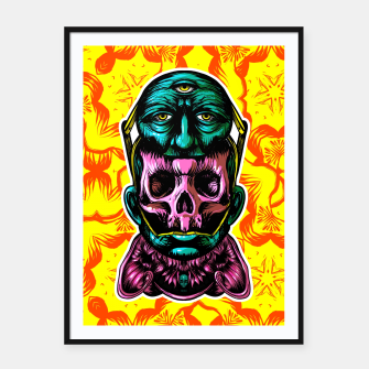 Thumbnail image of Skull and face helmet Framed poster, Live Heroes