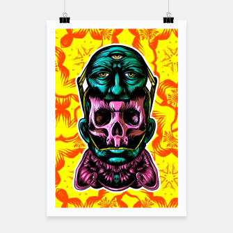 Thumbnail image of Skull and face helmet Poster, Live Heroes