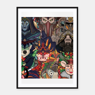 Thumbnail image of Character Pattern Framed poster, Live Heroes