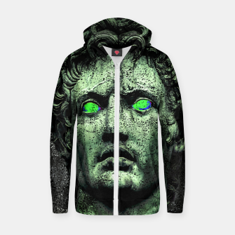 Thumbnail image of Angry Caesar Augustus Photo Manipulation Portrait Cotton zip up hoodie, Live Heroes