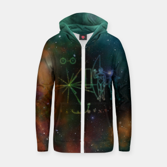 Miniatur Nasa Pioneer Craft Alien Food Map Nebula Cotton zip up hoodie, Live Heroes