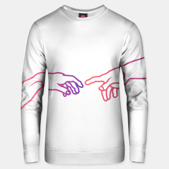 Thumbnail image of The Creation of Adam (Italian: Creazione di Adamo). It is a fresco painting done to portray God giving life to Adam. It is a Biblical creation from the Book of Genesis. Cotton sweater, Live Heroes