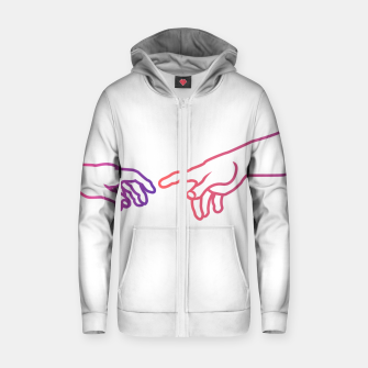 Thumbnail image of The Creation of Adam (Italian: Creazione di Adamo). It is a fresco painting done to portray God giving life to Adam. It is a Biblical creation from the Book of Genesis. Cotton zip up hoodie, Live Heroes