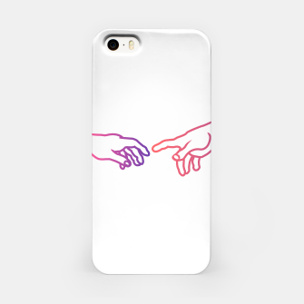 Thumbnail image of The Creation of Adam (Italian: Creazione di Adamo). It is a fresco painting done to portray God giving life to Adam. It is a Biblical creation from the Book of Genesis. iPhone Case, Live Heroes