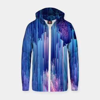 Miniatur Beglitched Waterfall - Pixel Art Cotton zip up hoodie, Live Heroes