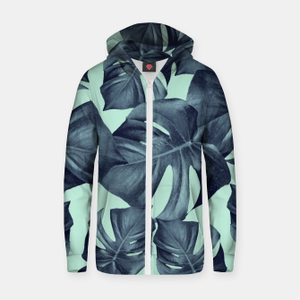 Thumbnail image of Monstera Leaves Pattern #10 #tropical #decor #art Baumwoll reißverschluss kapuzenpullover, Live Heroes