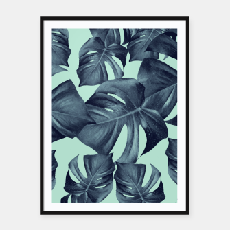 Thumbnail image of Monstera Leaves Pattern #10 #tropical #decor #art Plakat mit rahmen, Live Heroes