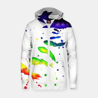 Thumbnail image of squid attack Cotton zip up hoodie, Live Heroes