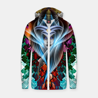 Thumbnail image of Mistress Of The Cuboid Cotton zip up hoodie, Live Heroes