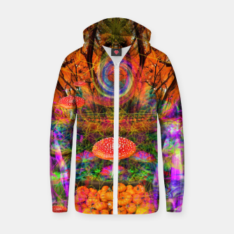 Hypnotic Autumn Magic (psychedelic, nature, mushrooms) Cotton zip up hoodie Bild der Miniatur
