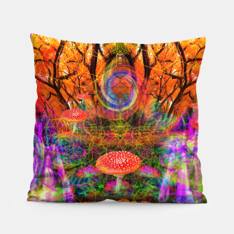 Hypnotic Autumn Magic (psychedelic, nature, mushrooms) Pillow Bild der Miniatur