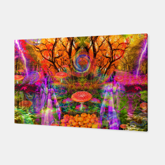 Hypnotic Autumn Magic (psychedelic, nature, mushrooms) Canvas Bild der Miniatur
