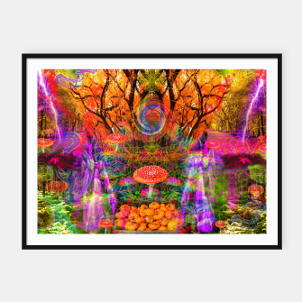 Hypnotic Autumn Magic (psychedelic, nature, mushrooms) Framed poster Bild der Miniatur