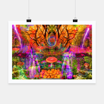 Hypnotic Autumn Magic (psychedelic, nature, mushrooms) Poster Bild der Miniatur