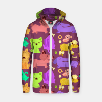 Miniatur Colorful dogs Cotton zip up hoodie, Live Heroes