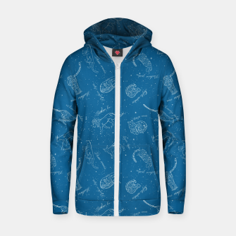 Thumbnail image of Big Cats Constellations (Light Blue Sky) Cotton zip up hoodie, Live Heroes