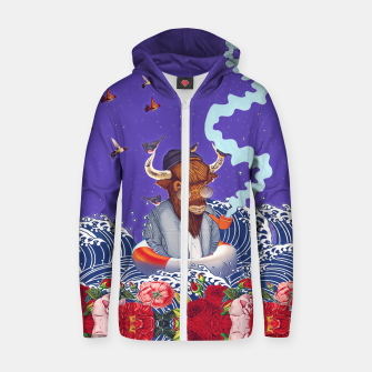 Thumbnail image of Buffalo in the sea Cotton zip up hoodie, Live Heroes