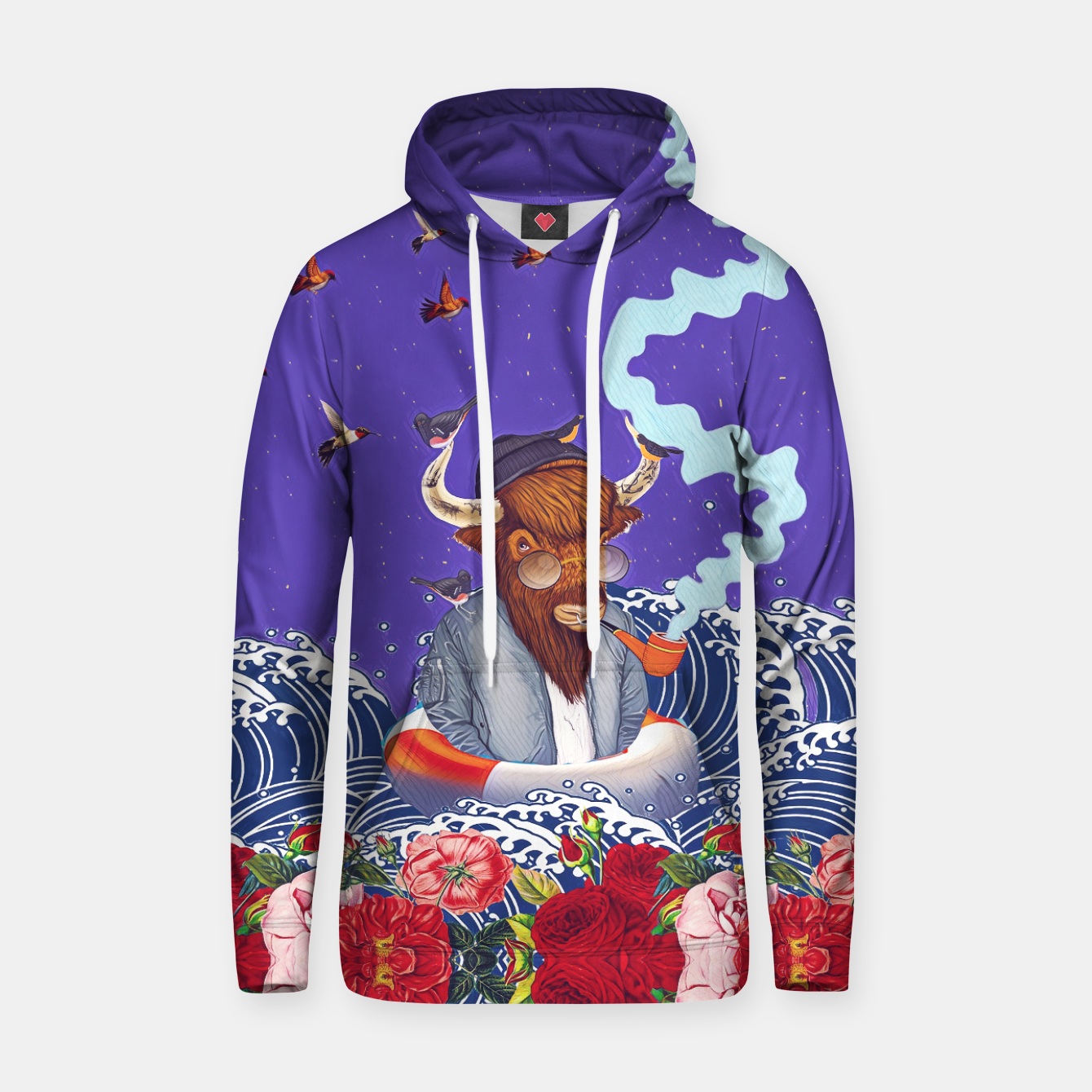 Image of Buffalo in the sea Cotton hoodie - Live Heroes
