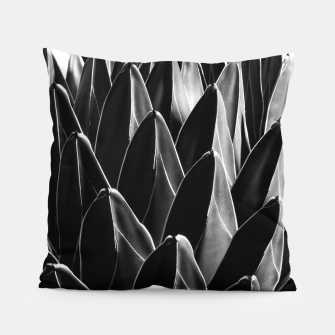 Thumbnail image of Agave Chic #7 Black, Gray White geometrical Leaves on White Background (Queen Victoria Agave) #succulent #decor #art  Kissen, Live Heroes