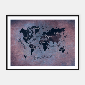 Thumbnail image of map of the world Plakaty w ramie , Live Heroes