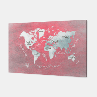 Miniaturka world map red Canvas, Live Heroes