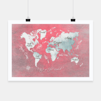 Miniaturka world map red Plakat, Live Heroes