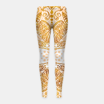 Miniaturka Bees Golden Mandala and Peach Pink Girl's leggings, Live Heroes