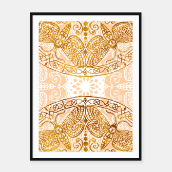 Miniatur Bees Golden Mandala and Peach Pink Framed poster, Live Heroes