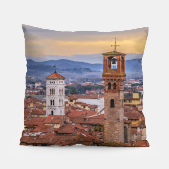 Thumbnail image of Aerial View Historic Center of Lucca, Italy Pillow, Live Heroes