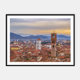 Thumbnail image of Aerial View Historic Center of Lucca, Italy Framed poster, Live Heroes
