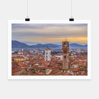 Thumbnail image of Aerial View Historic Center of Lucca, Italy Poster, Live Heroes