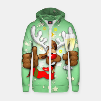 Thumbnail image of Reindeer Drunk Funny Christmas Character Cotton zip up hoodie, Live Heroes