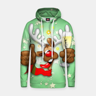 Thumbnail image of Reindeer Drunk Funny Christmas Character Cotton hoodie, Live Heroes