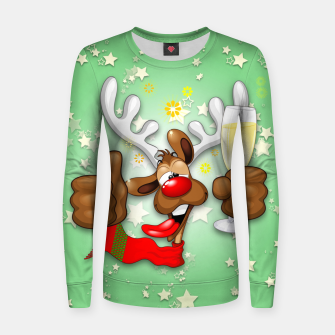 Thumbnail image of Reindeer Drunk Funny Christmas Character Woman cotton sweater, Live Heroes