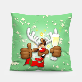 Thumbnail image of Reindeer Drunk Funny Christmas Character Pillow, Live Heroes