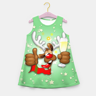 Thumbnail image of Reindeer Drunk Funny Christmas Character Girl's summer dress, Live Heroes