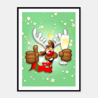 Thumbnail image of Reindeer Drunk Funny Christmas Character Framed poster, Live Heroes