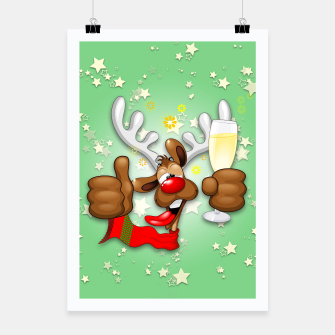 Thumbnail image of Reindeer Drunk Funny Christmas Character Poster, Live Heroes
