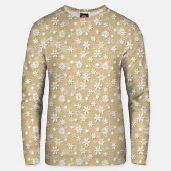 Miniatur Festive Gold and White Christmas Holiday Snowflakes Cotton sweater, Live Heroes