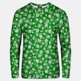 Miniatur Festive Green and White Christmas Holiday Snowflakes Cotton sweater, Live Heroes