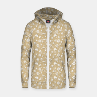 Miniatur Festive Gold and White Christmas Holiday Snowflakes Cotton zip up hoodie, Live Heroes