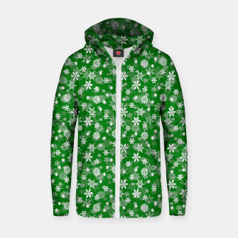 Miniatur Festive Green and White Christmas Holiday Snowflakes Cotton zip up hoodie, Live Heroes
