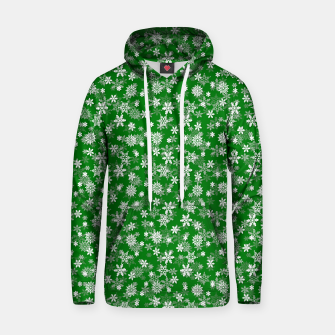 Miniatur Festive Green and White Christmas Holiday Snowflakes Cotton hoodie, Live Heroes