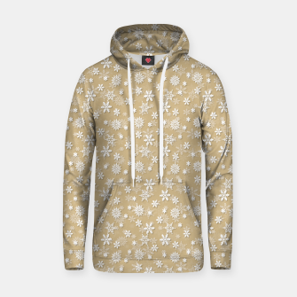Miniatur Festive Gold and White Christmas Holiday Snowflakes Cotton hoodie, Live Heroes