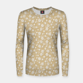Miniatur Festive Gold and White Christmas Holiday Snowflakes Woman cotton sweater, Live Heroes