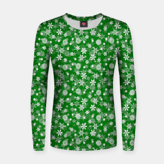 Miniatur Festive Green and White Christmas Holiday Snowflakes Woman cotton sweater, Live Heroes