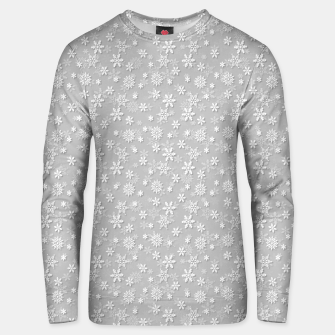 Miniatur Festive Silver Grey and White Christmas Holiday Snowflakes Cotton sweater, Live Heroes