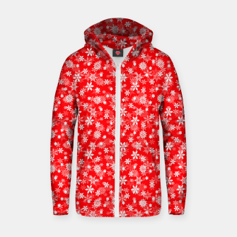 Miniatur Festive Red and White Christmas Holiday Snowflakes Cotton zip up hoodie, Live Heroes